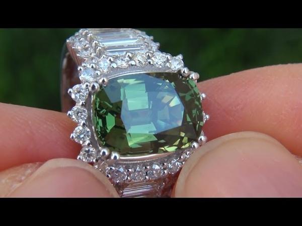 GIA Certified VVS1 Natural Green Songea Sapphire Diamond 14k White Gold Ring - A133111