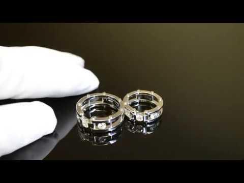 Обручальные кольца браслетного типа на штифтах из белого золота с крупными бриллиантами