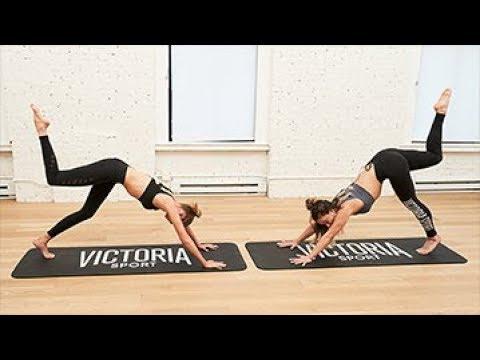 Victorias Secret Train Like An Angel Live Stella Maxwell Beth Cooke at Sky Ting Yoga