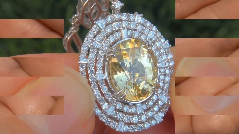 GIA Certified Unheated VVS Clarity Canary Yellow Sapphire Diamond Pendant Necklace 132002
