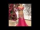 Red with golden lace top and skirt. Belly dance costume by Sufel Boutique. ベリーダンス衣装