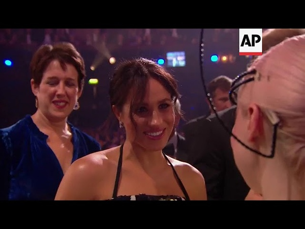 Duke and Duchess of Sussex greet performers after the Royal Variety performance