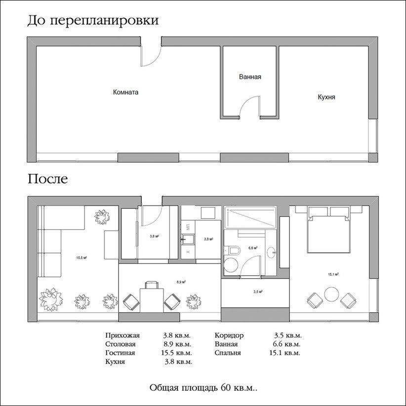 Дизайн квартиры — студии.