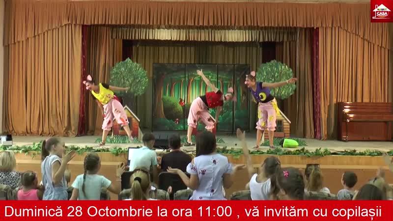 Spectacol Distractiv Interactiv și Educativ pentru Copii Aventurile celor Trei Purceluși la Odeon ora 11 pe 28 octombrie 20
