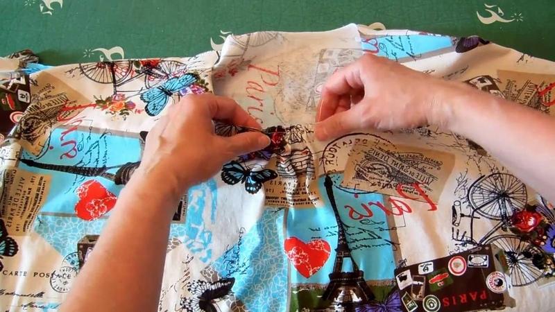 Обработка горловины футболки руликом из основной ткани.