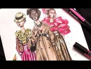 RENDERING TRENCHCOAT SEQUINS PANTS FLOUNCES| Fashion Drawing