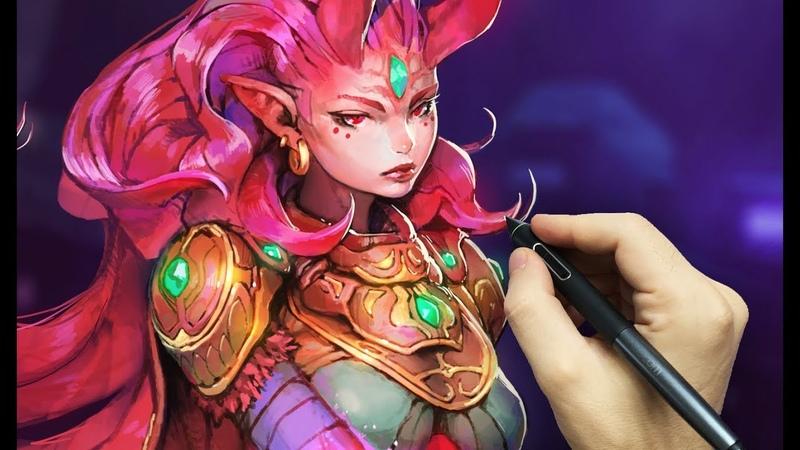Crimson Princess - Photoshop Painting Process