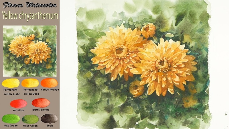 Yellow chrysanthemum - Drawing Flower watercolor (wet-in-wet, Arches rough)NAMIL ART