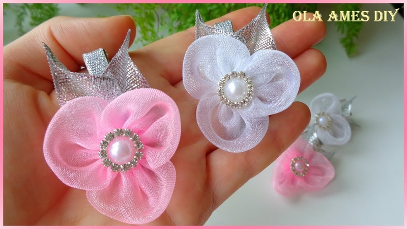 Цветы из органзы на заколке/Organza Flower Tutorial/Flower Hair Clip/Flores de Organza/Ola ameS DIY