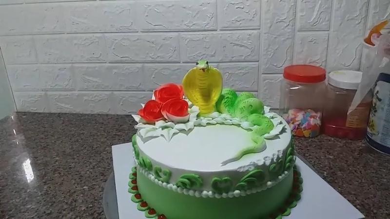 Decorating Simple Cream Cake, Beautiful, Shaping The Snake (26) Bánh Kem Đơn Giản Tạo Hình Con Rắn