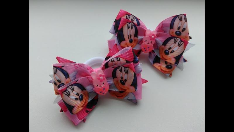 Бантики мультяшки из репсовых лент МК Канзаши / Fitas de Minnie mouse MK