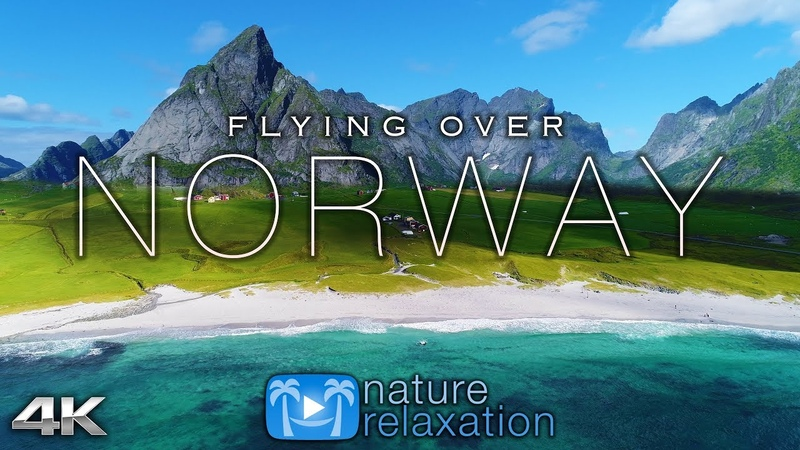 FLYING OVER NORWAY 4K UHD 1HR Ambient Drone Film Music by Nature Relaxation™ for Stress Relief