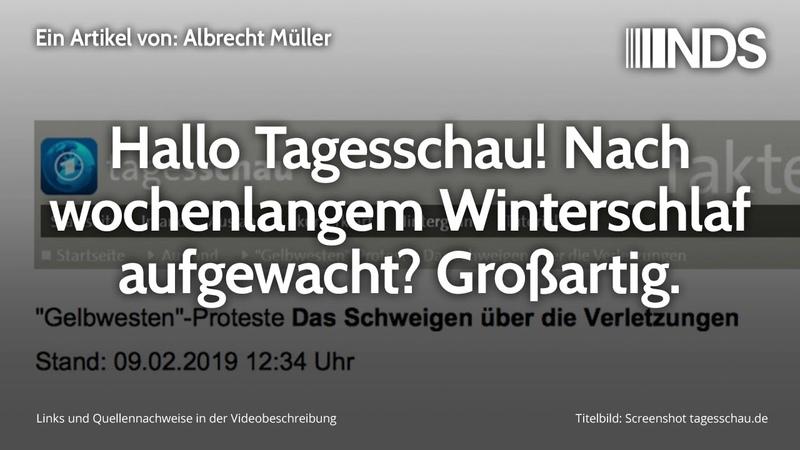 Hallo Tagesschau Nach wochenlangem Winterschlaf aufgewacht Großartig Albrecht Müller