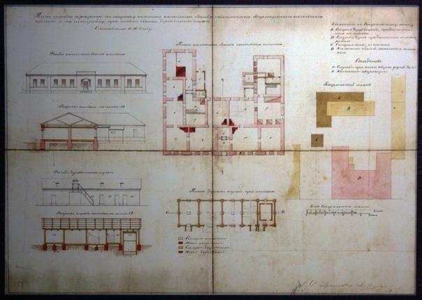 Строительный план здания аптеки. Все проекции и даже двор. Слева нет никакой пристройки, ага. Зато крылья стали больше, а проходы между комнатами больше похожи на современные.