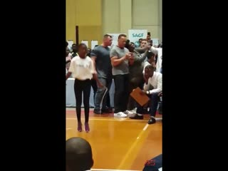 Arnold schwarzenegger flying kicked at the south africa arnold expo