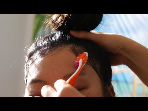 ASMR *HAIR STYLING* (Story Time Whispers) Hair Brushing, De-greasing, Top Knot LAYING DOWN EDGES!!