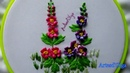Hand Embroidery: Hollyhocks   Bordados a mano: Malvarrosa   Artesd'Olga