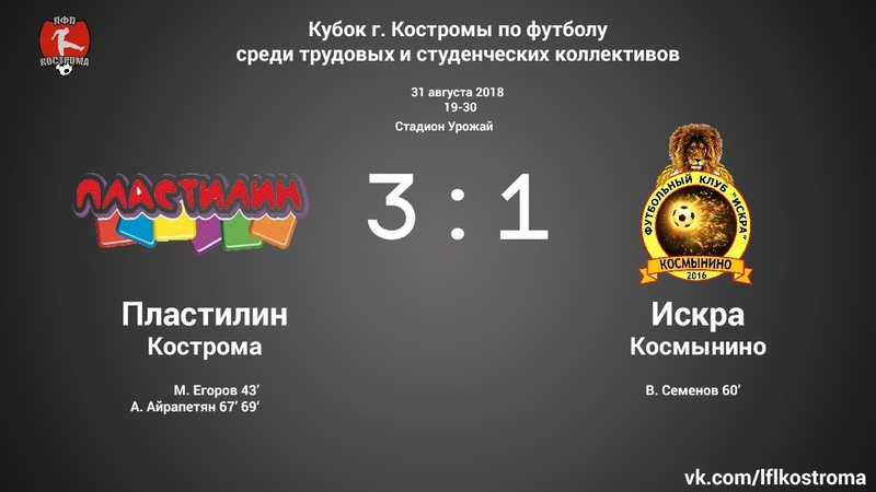 Пластилин - Искра (Космынино) 3:1 ЛФЛ - II Кубок г. Костромы
