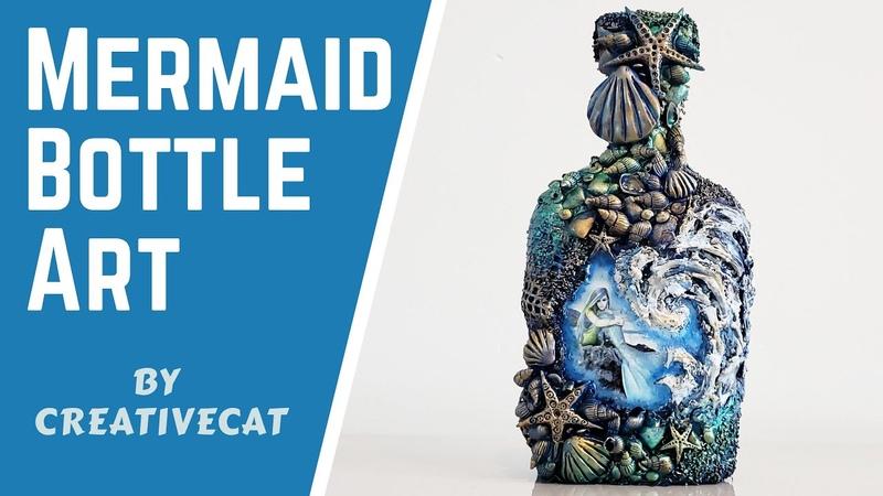 Mermaid Bottle art Mermaid Altered Bottle Wine bottle craft Bottle Decoration