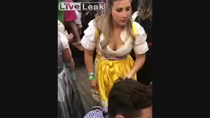 Octoberfest catfight with beer throwing