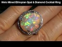INVESTMENT GRADE Welo Mined Opal Diamond Ring solid 14K - INTENSE Play of Color
