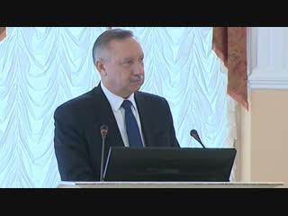 Врио губернатора Александр Беглов выступил с обращением в Смольном