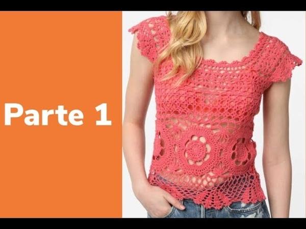 Crocheparainiciantes.netBLUSA ROSA - PARTE 1 - CORPO- Linha Camila Fashion