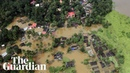 Aerial view shows scale of monsoon flooding in Kerala India