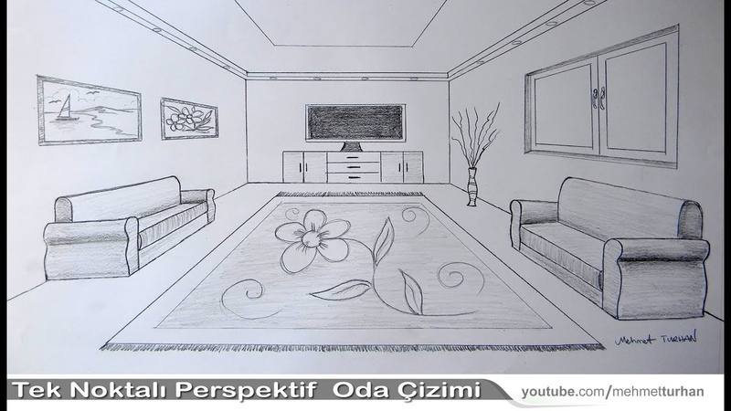 Oda Çizimi,tek nokta perspektifli iç mekan çizimi, How to draw a room with one point perspective?