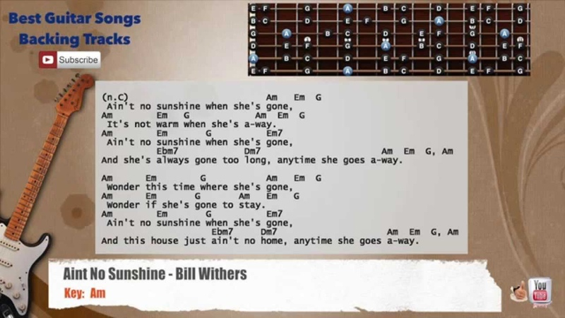 Ain't No Sunshine - Bill Withers Guitar Backing Track with scale, chords and lyrics