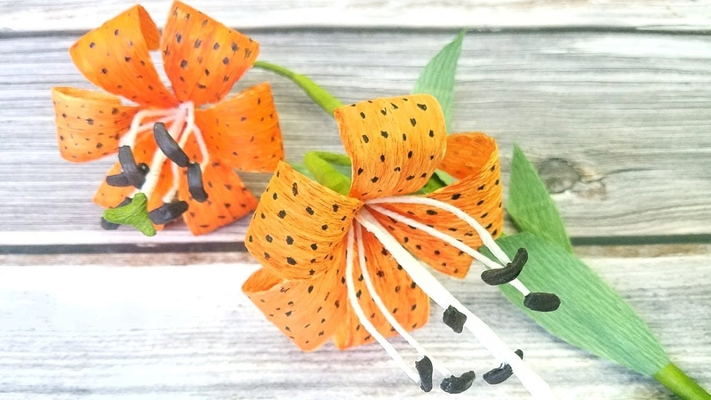 Easy DIY How to make Paper Lily Flower (Tiger Lily) with crepe paper Step by Step Tutorial