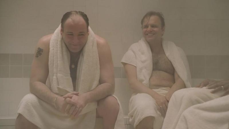 (Клан Сопрано S04E07_02) Тони, Ральфи, Зелман и Морис в сауне. Зелман признается, что ебёт Ирину
