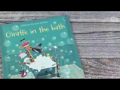 A Look Inside The Usborne Phonics Reader Giraffe in a Bath Book