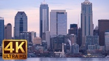 Seattle 4K Cityscape View From Alki Beach with Sailing Ships Views