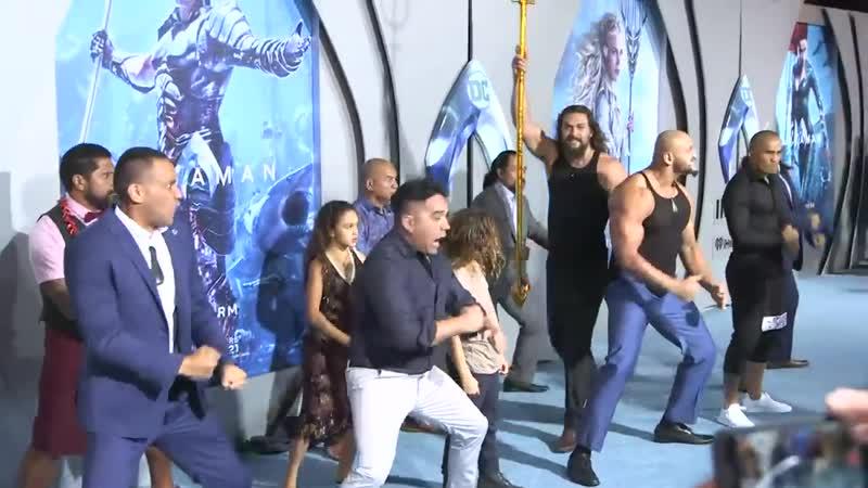 Jason Momoa Performs Haka at Aquaman Premiere