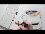 КАК НАРИСОВАТЬ ЧАШКУ КОФЕ АКВАРЕЛЬНЫМИ МАРКЕРАМИ _ Уроки Рисования от ARTMARKER