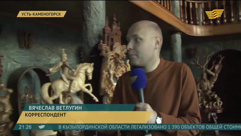 Резчик по дереву из Усть Каменогорска в своих работах воссоздает историю Казахстана