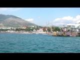 Судак, вид с катера Одиссей, причал у Генуэзской крепости, крабий остров