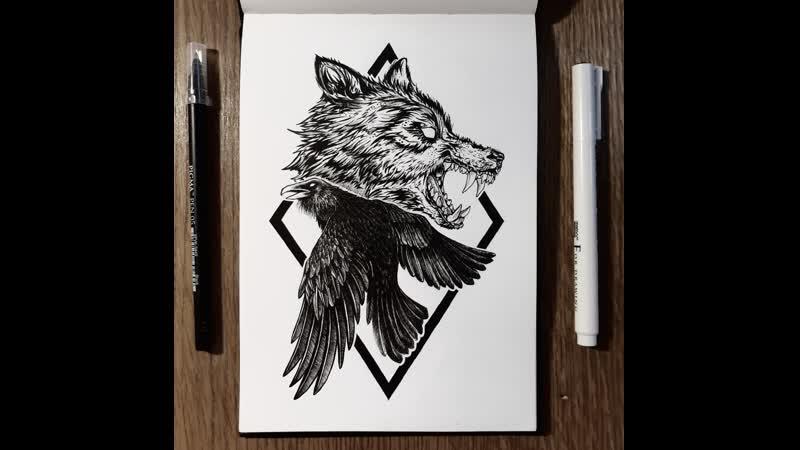 «Wolf And Raven» | Black White Art | Speed Drawing | Art by Renata Reingard