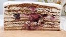 Шикарный Медовик с вишней и орехами грецкими со сметанным кремом Chic Honey cake with cherries and nuts
