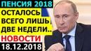 До вступления ПЕНСИОННОЙ РЕФОРМЫ в силу осталось ДВЕ НЕДЕЛИ 18 12 2018