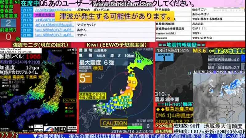 Major Japanese earthquake on TV and tsunami warning
