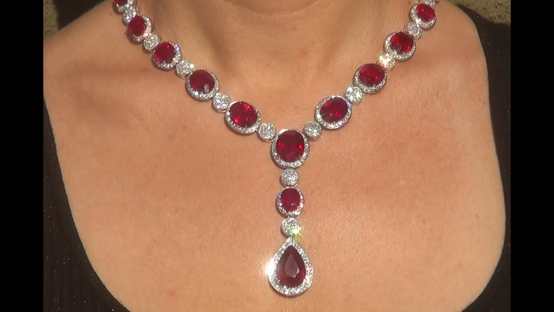 Certified Natural Red Ruby Diamond Tennis Cocktail Necklace 154.02 TCW - C897