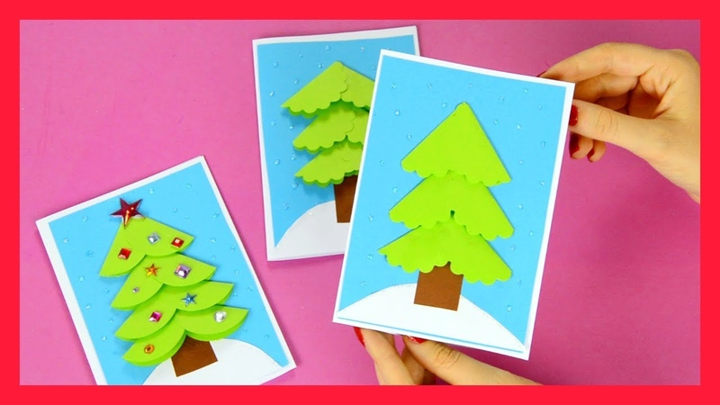 Paper Circle DIY Christmas Card Idea for Kids