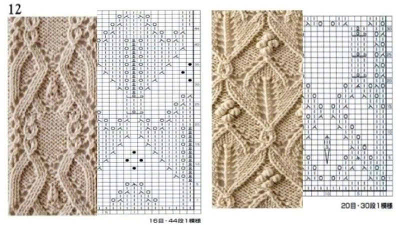 Шикарные схемы узоров для спиц С 1 по 50 Книга 260 узоров Хитоми Шида