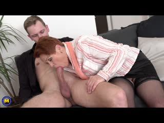 This curvy redhead grandma loves playing with a young hard cock - http://www.vidz78.com