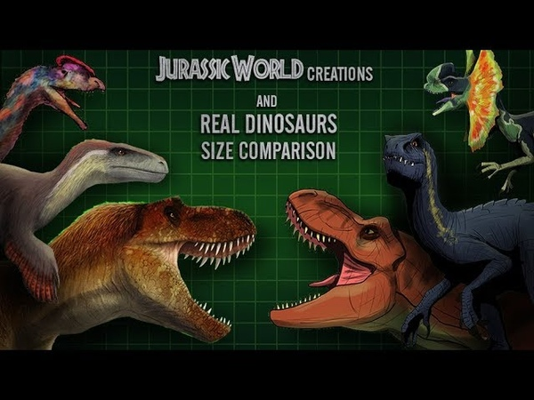 JURASSIC WORLD hybrids and real DINOSAURS size comparison . Part 1/2