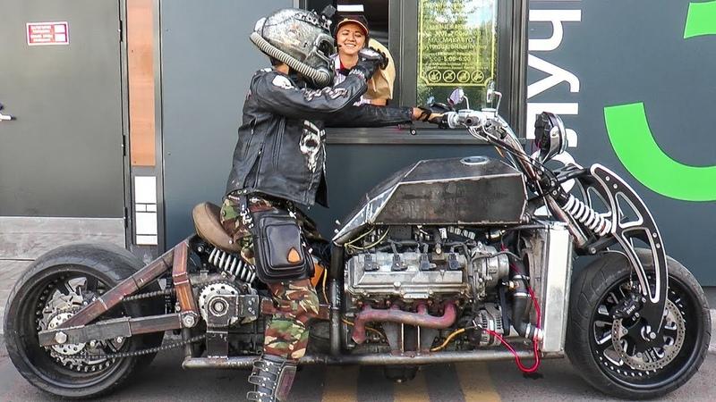 Самодельный мотоцикл с v8 GangRena. Испытания в городе. Custom bike with v8