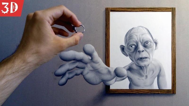 3д рисунок карандашом Властелин колец Объемный портрет