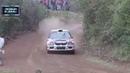 Rally car fly over lucky dog
